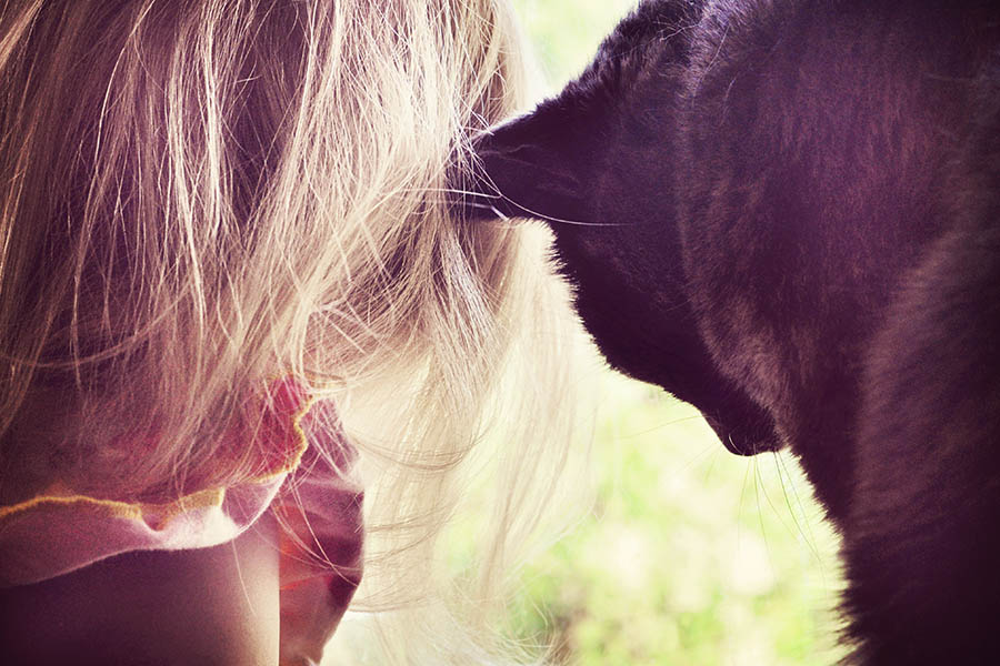 """""""Girl and Cat"""" by Caryn Caldwell"""